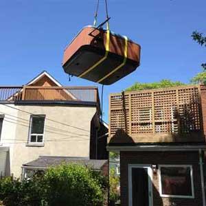Crane Lifting Hot Tub